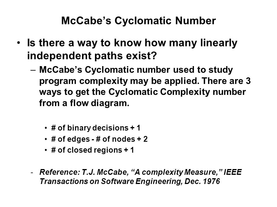 McCabe's Cyclomatic Number