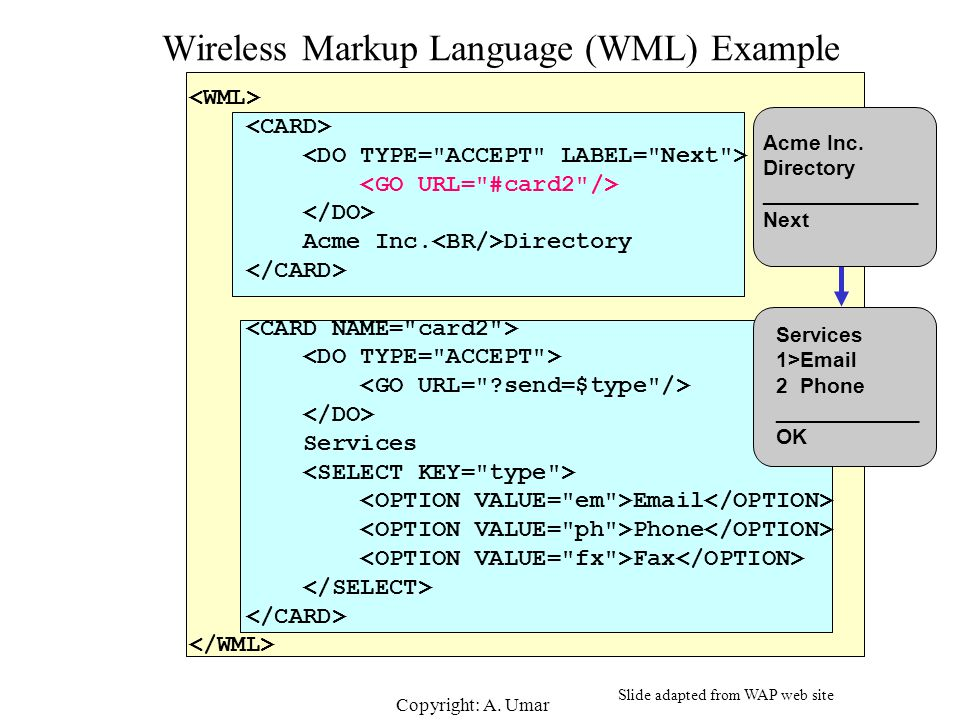 Wireless Markup Language (WML) Example