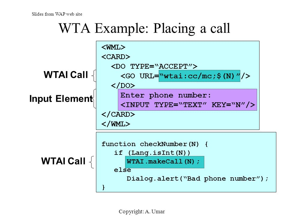 WTA Example: Placing a call