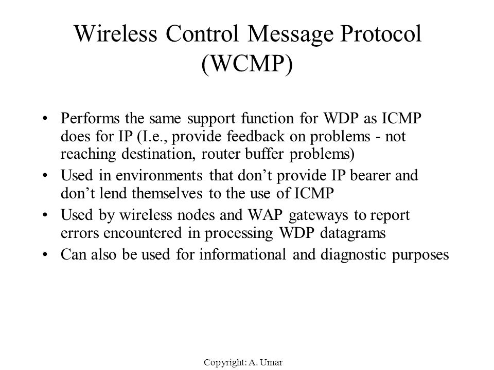 Wireless Control Message Protocol (WCMP)