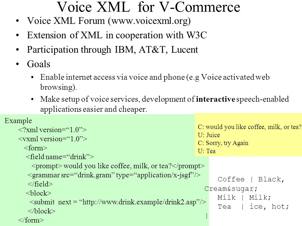 Voice XML for V-Commerce