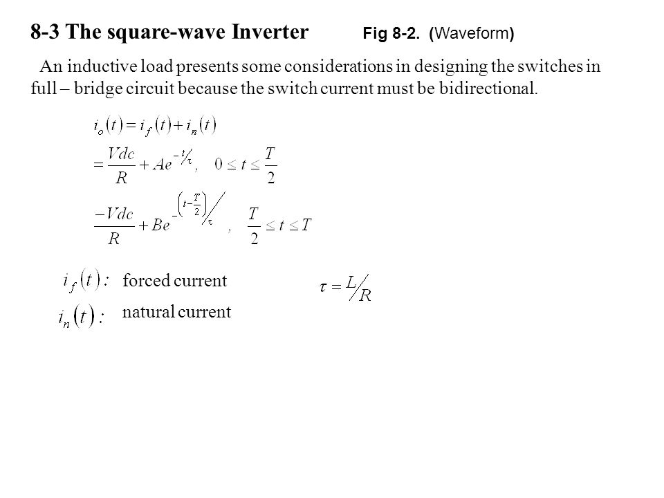 8-3 The square-wave Inverter Fig 8-2. (Waveform)