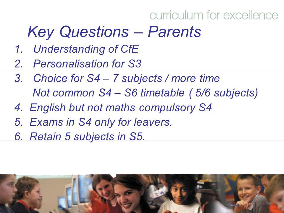 Key Questions – Parents