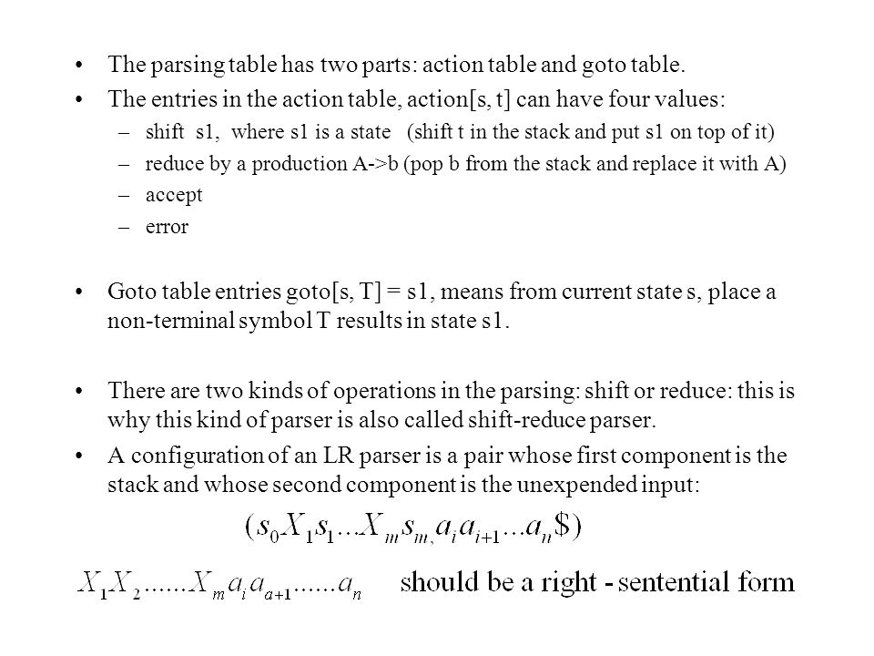 The parsing table has two parts: action table and goto table.