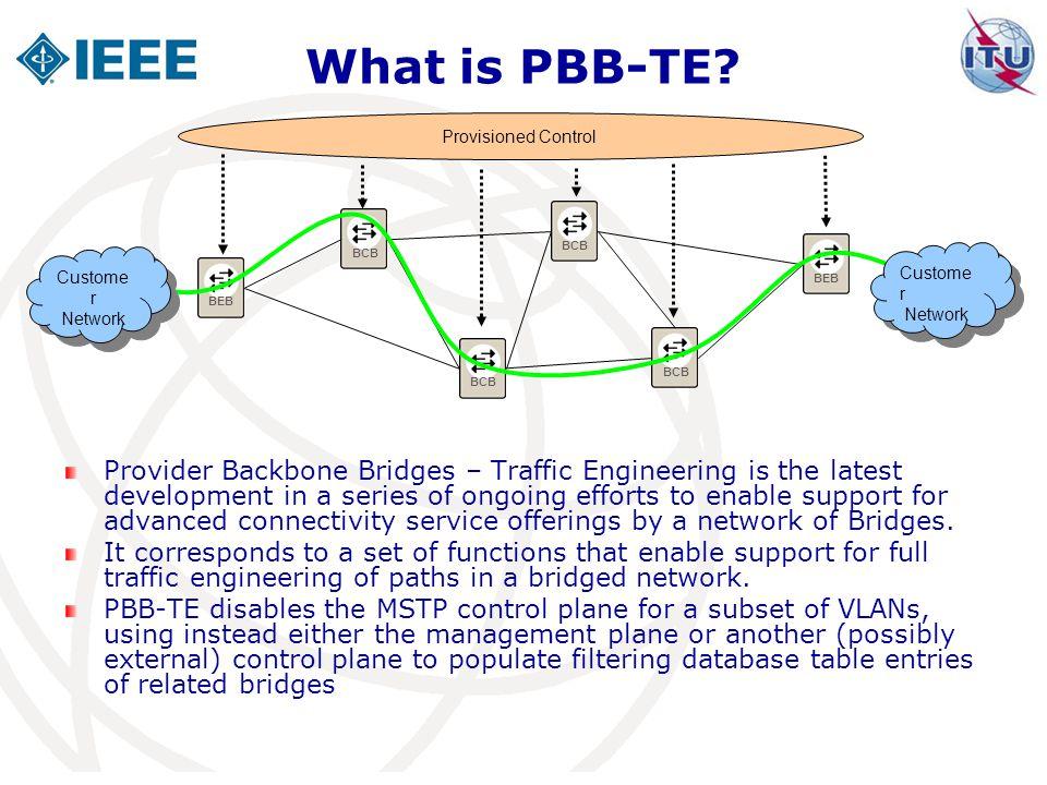 What is PBB-TE Provisioned Control. BCB. BCB. BEB. Customer. Network. Customer. Network. BEB.