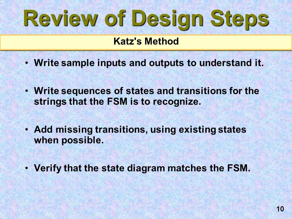 Review of Design Steps Katz s Method