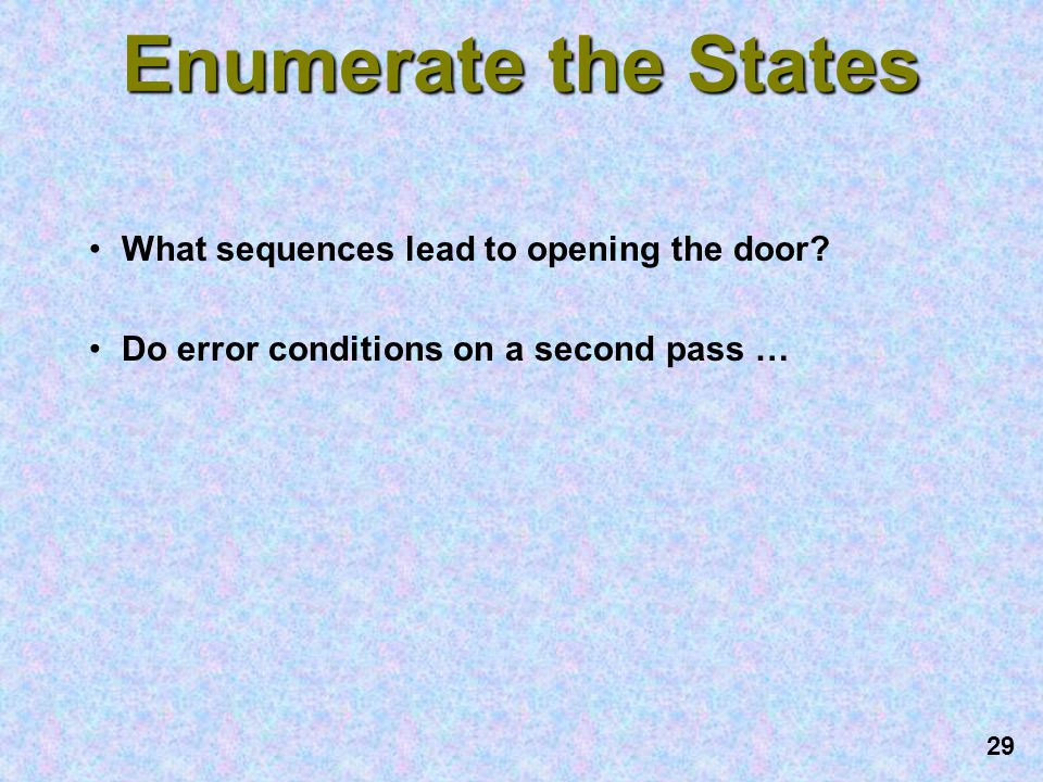 Enumerate the States What sequences lead to opening the door