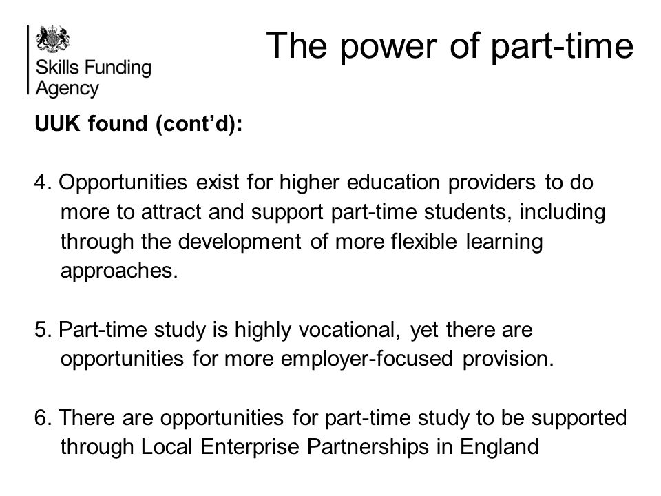 The power of part-time UUK found (cont'd):