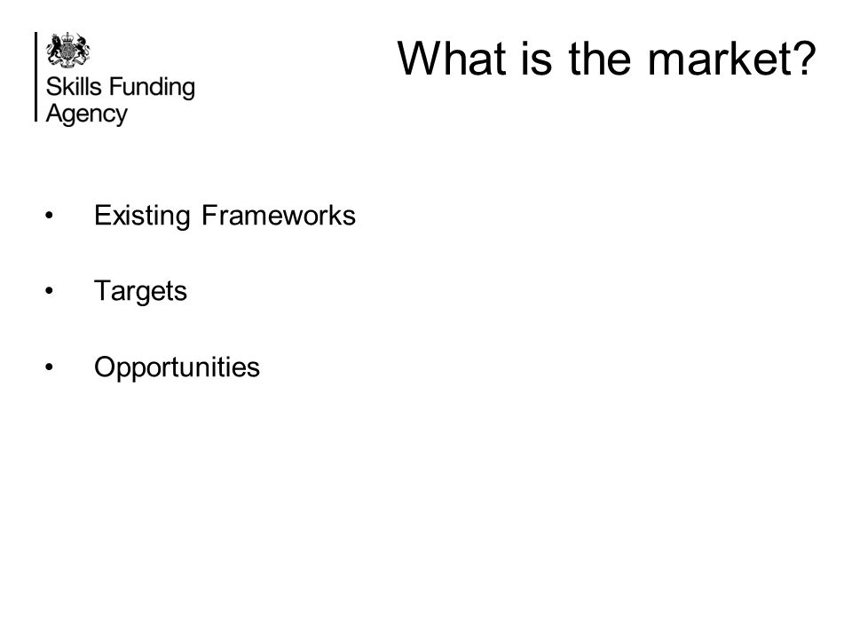 What is the market Existing Frameworks Targets Opportunities