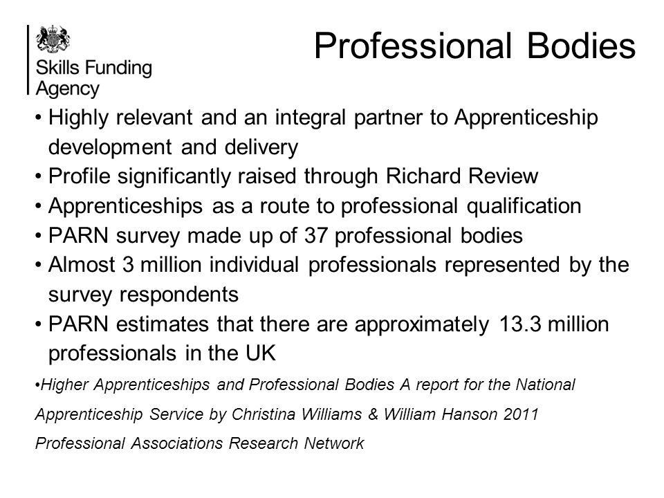 Professional Bodies Highly relevant and an integral partner to Apprenticeship development and delivery.