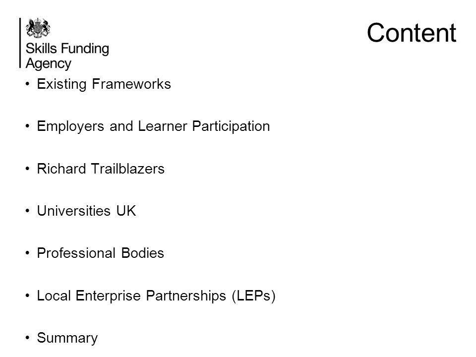 Content Existing Frameworks Employers and Learner Participation