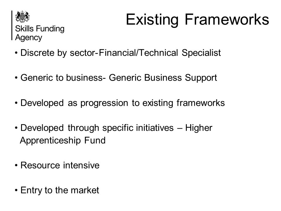 Existing Frameworks Discrete by sector- Financial/Technical Specialist