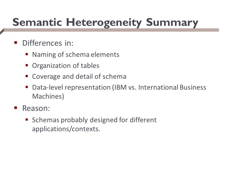 Semantic Heterogeneity Summary
