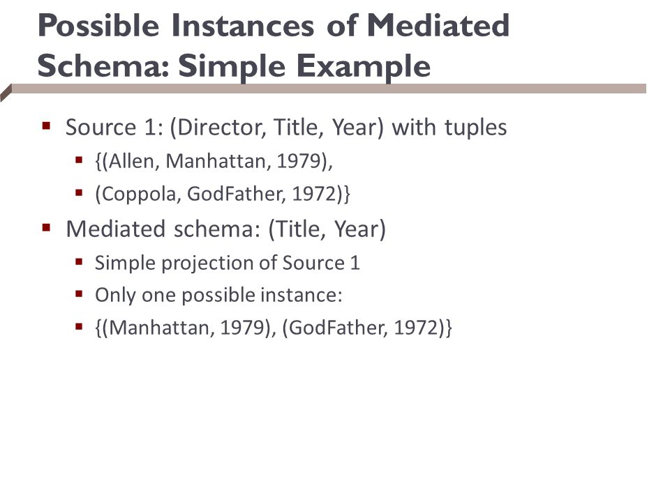 Possible Instances of Mediated Schema: Simple Example