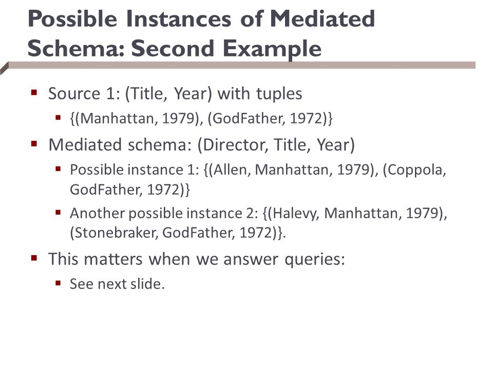 Possible Instances of Mediated Schema: Second Example