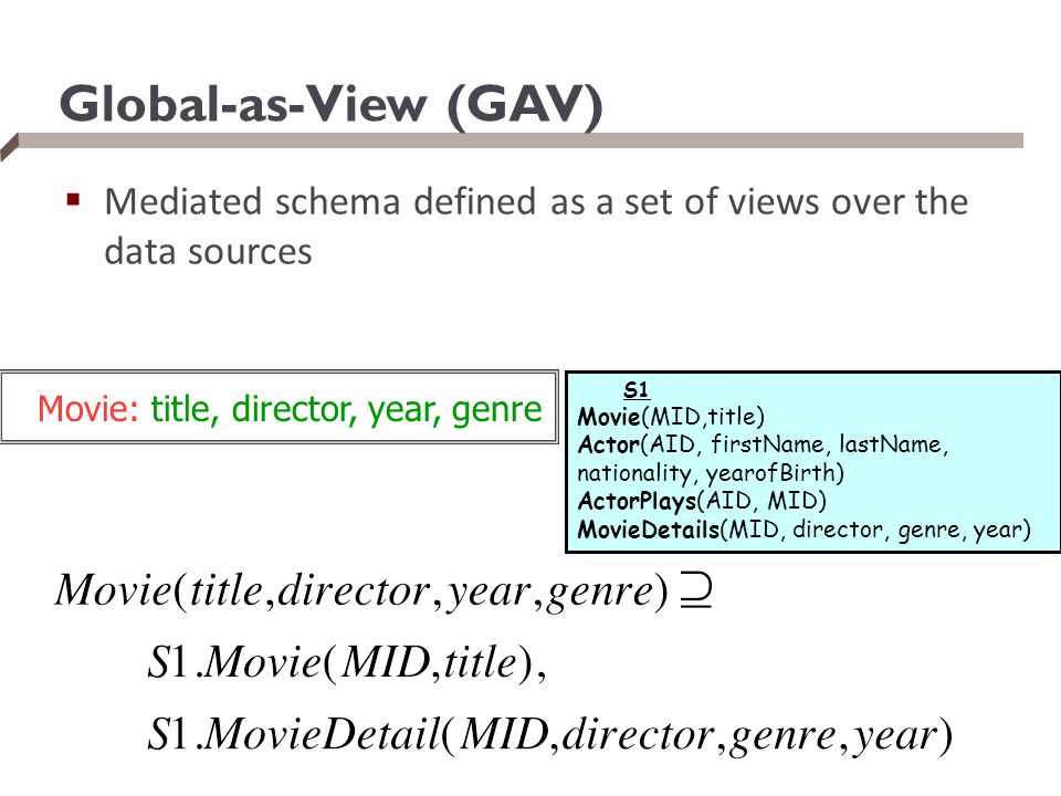Global-as-View (GAV) Mediated schema defined as a set of views over the data sources. S1. Movie(MID,title)