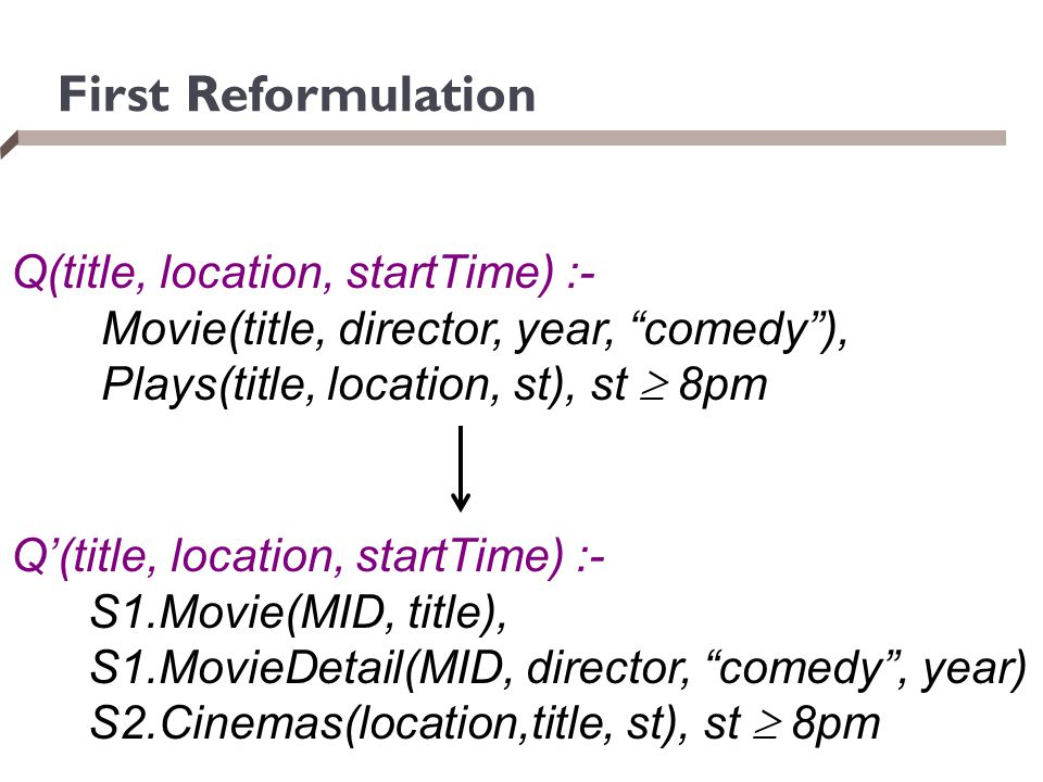 First Reformulation Q(title, location, startTime) :-