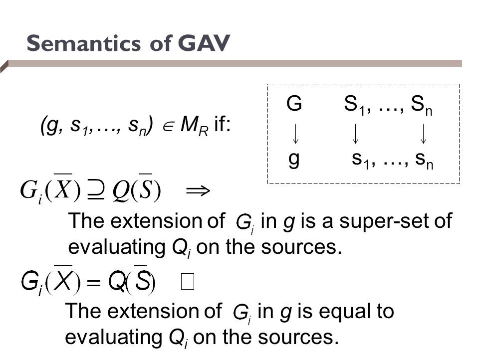 Semantics of GAV G S1, …, Sn (g, s1,…, sn)  MR if: g s1, …, sn