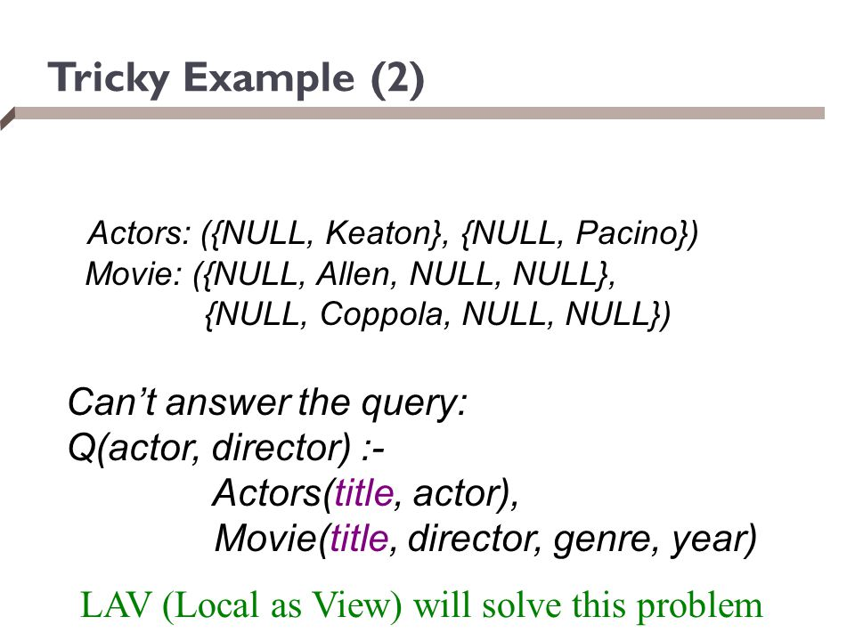 Tricky Example (2) Actors: ({NULL, Keaton}, {NULL, Pacino})