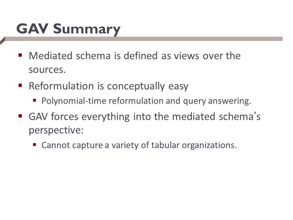GAV Summary Mediated schema is defined as views over the sources.