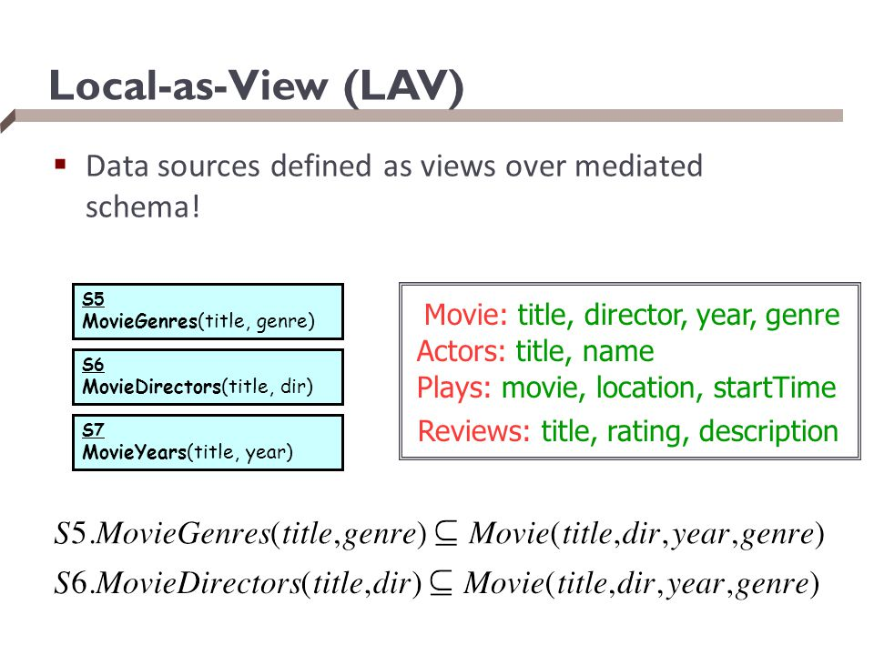 Local-as-View (LAV) Data sources defined as views over mediated schema! S5. MovieGenres(title, genre)