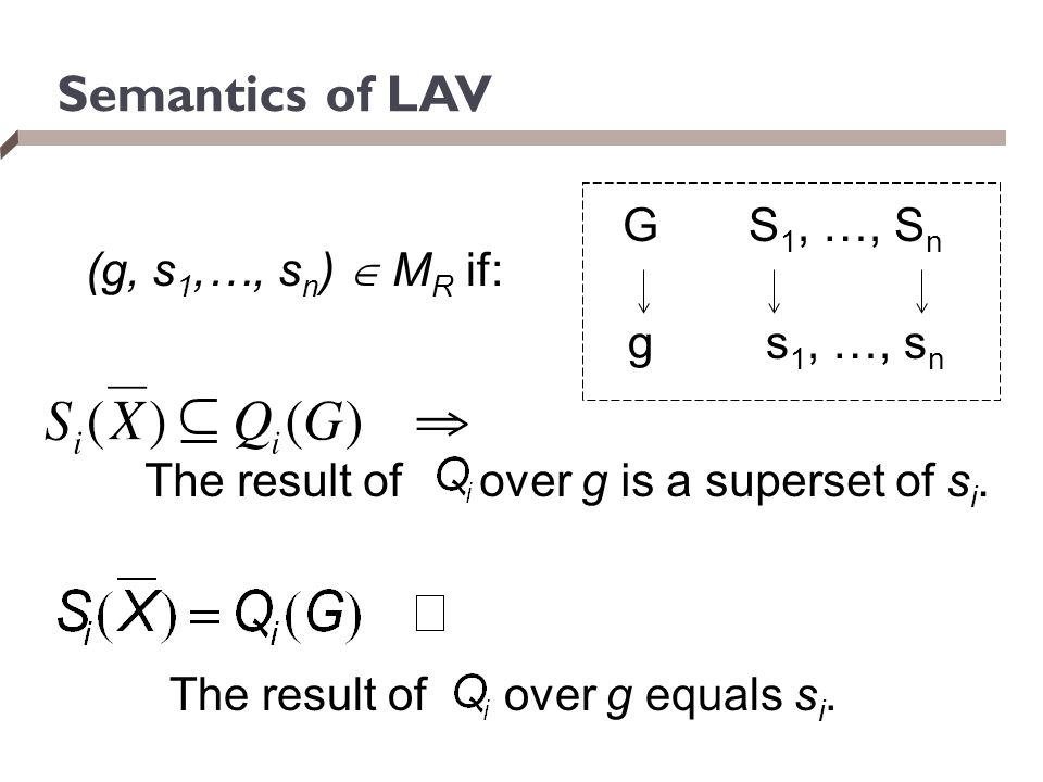 Semantics of LAV G S1, …, Sn (g, s1,…, sn)  MR if: g s1, …, sn