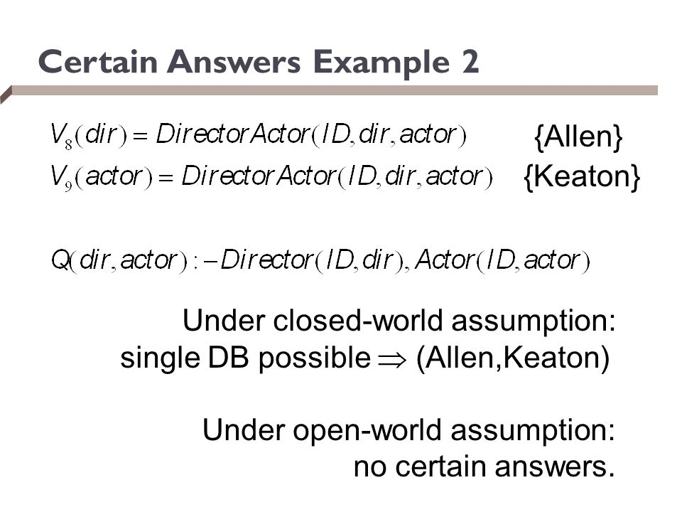 Certain Answers Example 2