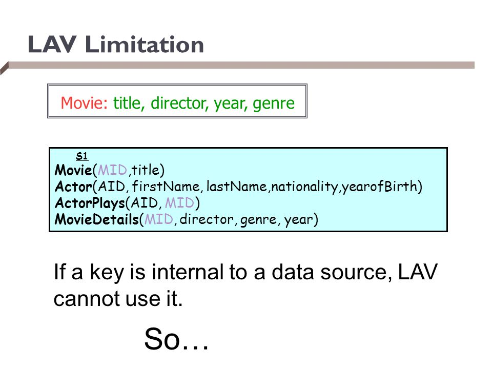 So… LAV Limitation If a key is internal to a data source, LAV