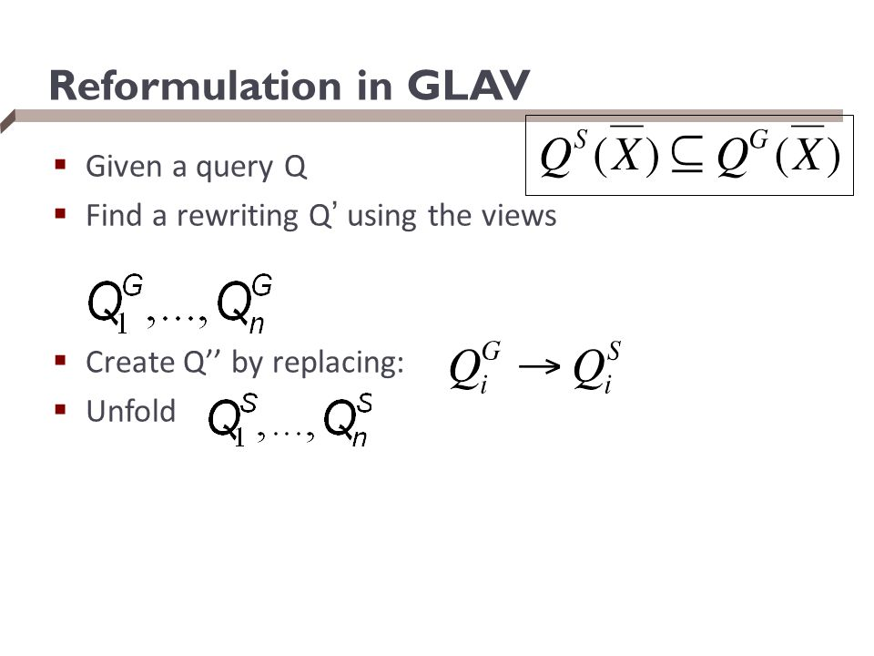 Reformulation in GLAV Given a query Q