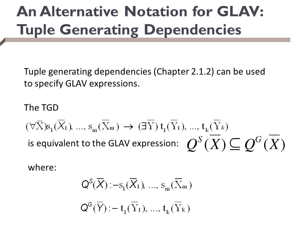 An Alternative Notation for GLAV: Tuple Generating Dependencies
