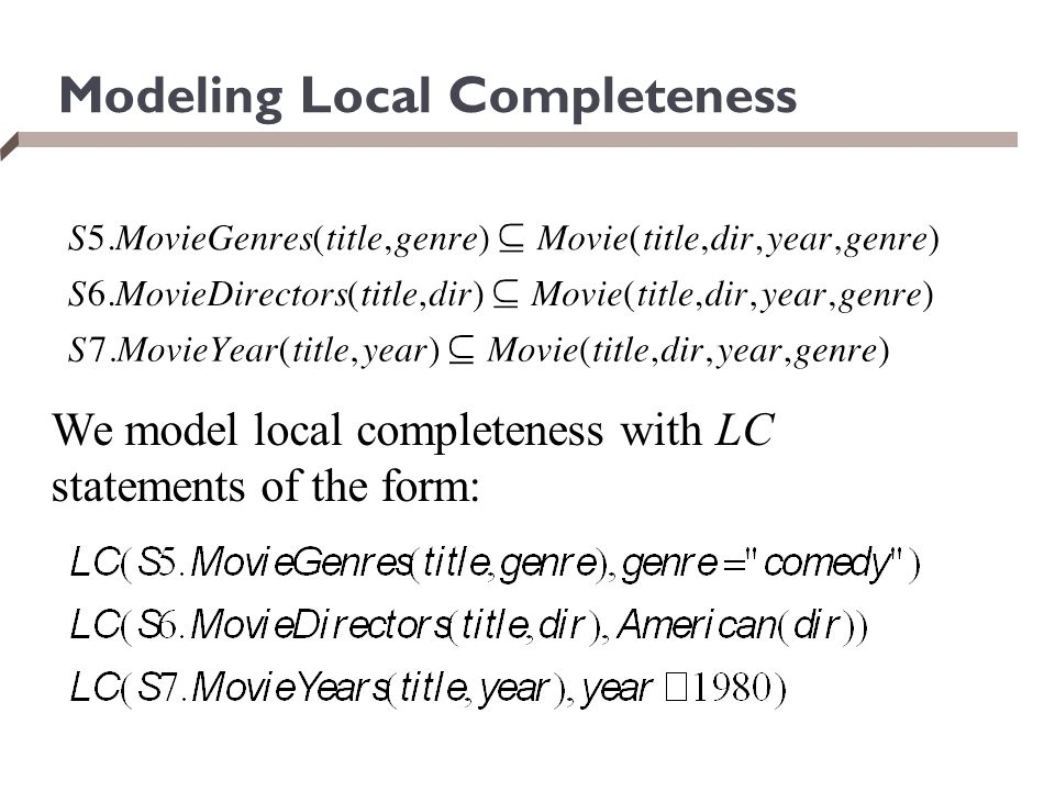 Modeling Local Completeness
