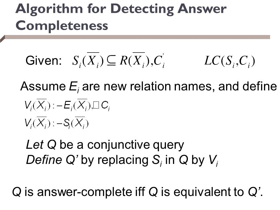 Algorithm for Detecting Answer Completeness
