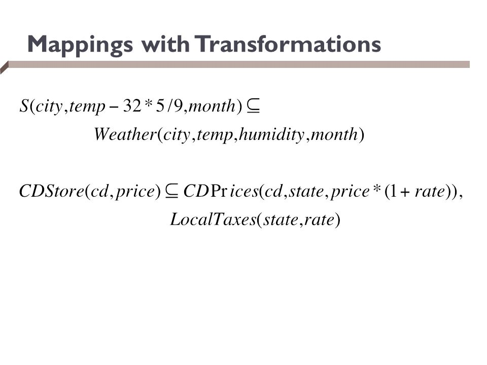 Mappings with Transformations