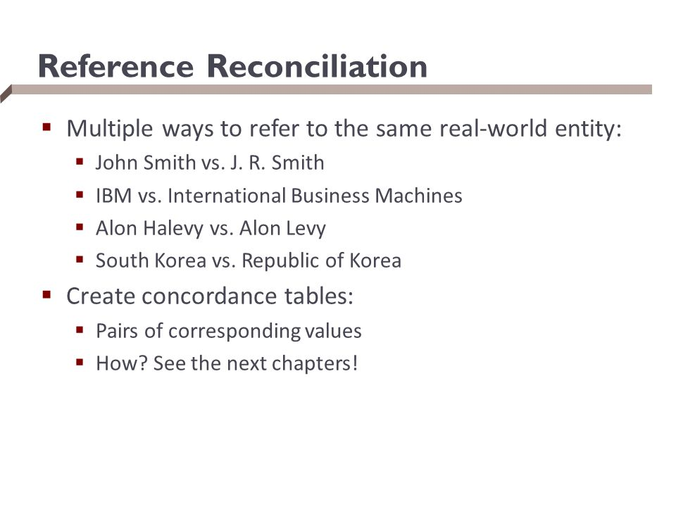 Reference Reconciliation