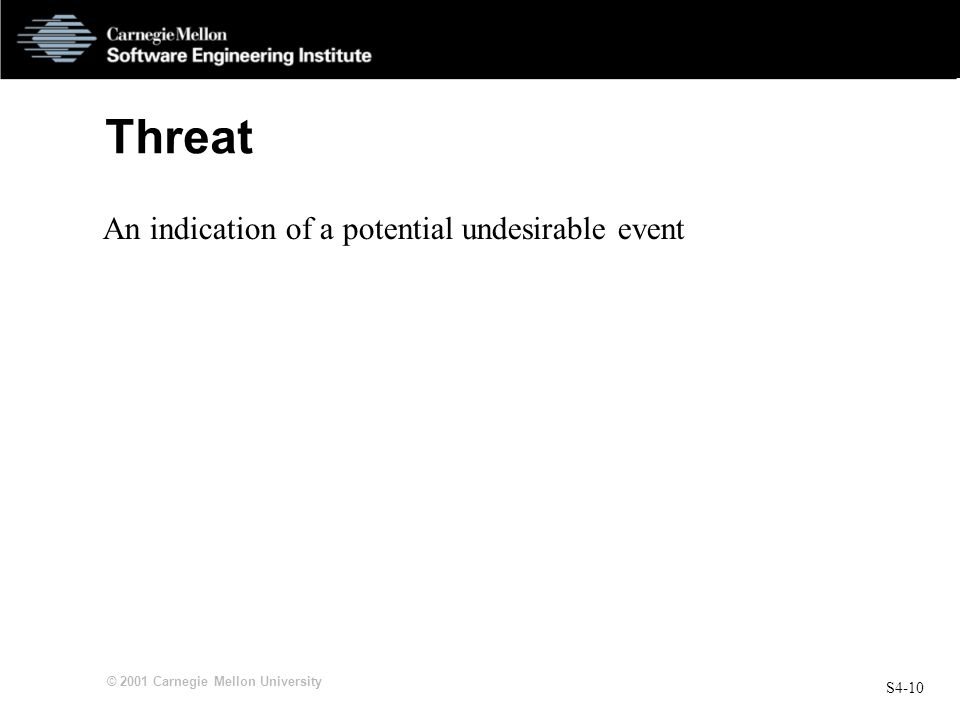 Threat An indication of a potential undesirable event