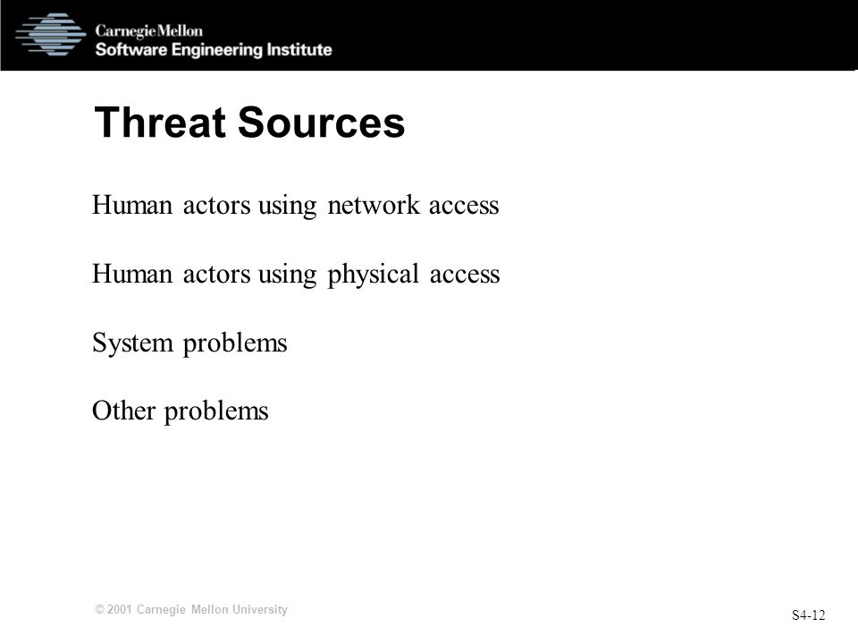 Threat Sources Human actors using network access