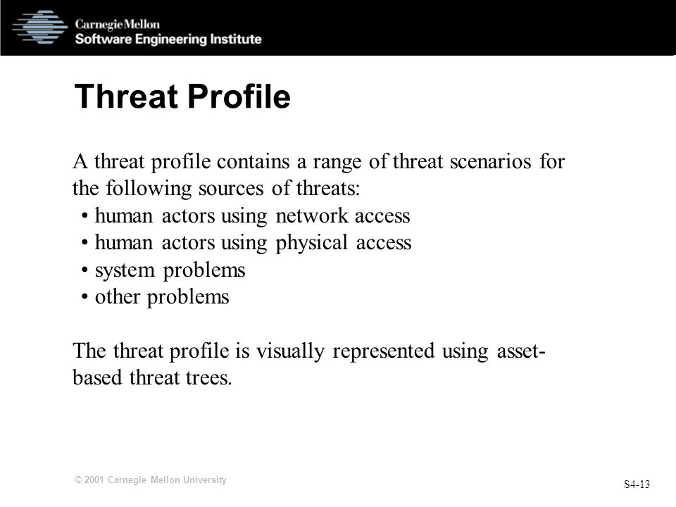 Threat Profile A threat profile contains a range of threat scenarios for the following sources of threats: