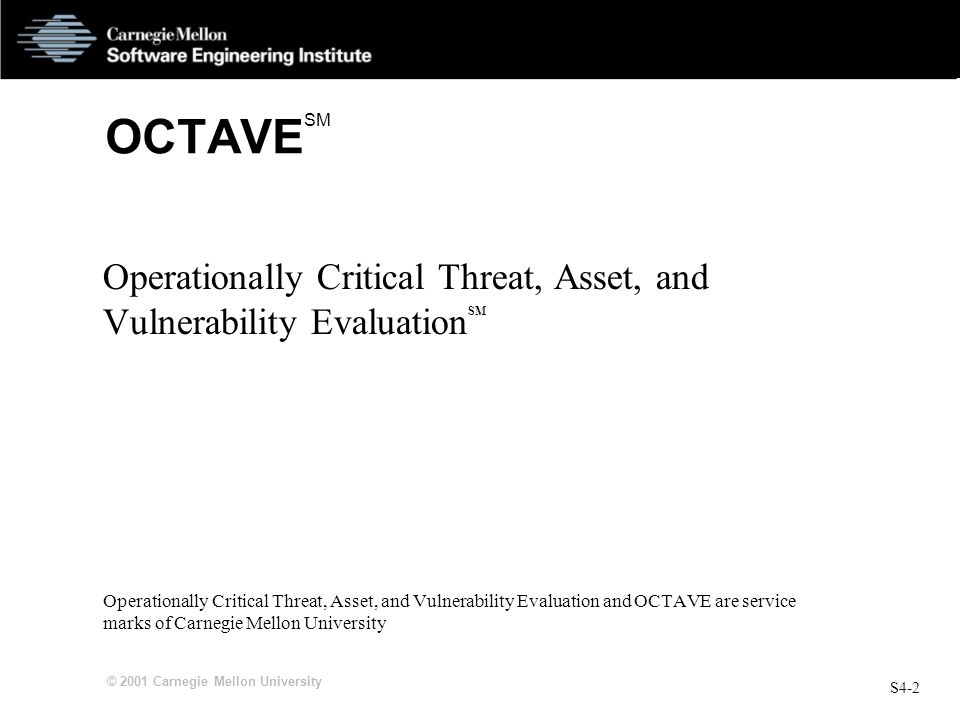 OCTAVESM Operationally Critical Threat, Asset, and Vulnerability EvaluationSM.