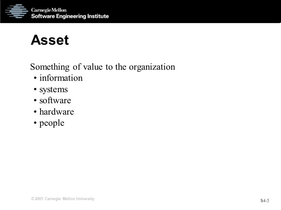 Asset Something of value to the organization information systems