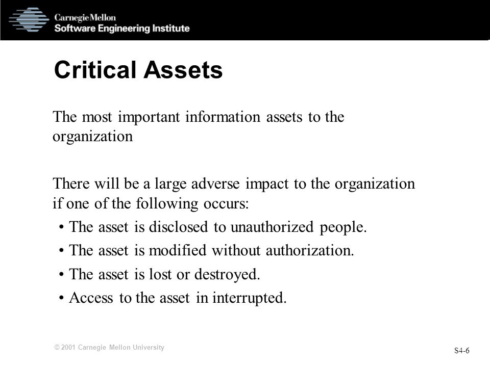 Critical Assets The most important information assets to the organization.