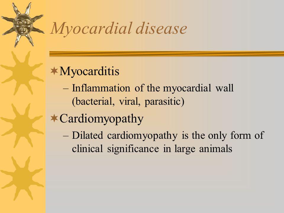 Myocardial disease Myocarditis Cardiomyopathy