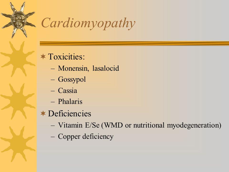 Cardiomyopathy Toxicities: Deficiencies Monensin, lasalocid Gossypol