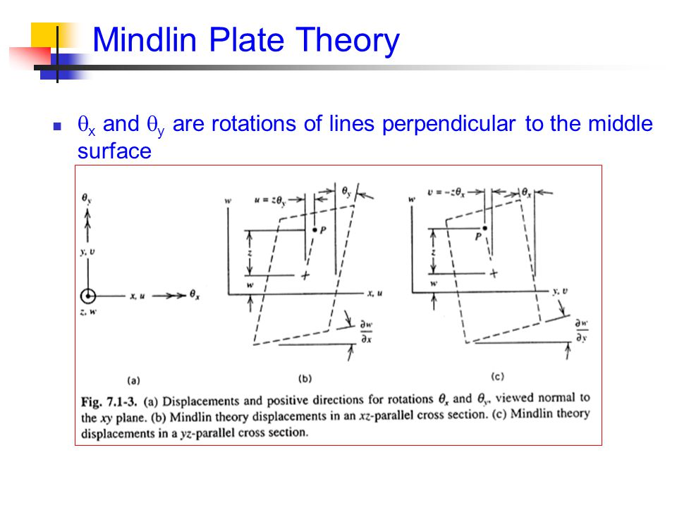 Mindlin Plate Theory x and y are rotations of lines perpendicular to the middle surface
