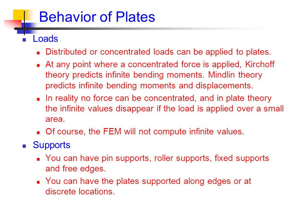 Behavior of Plates Loads Supports