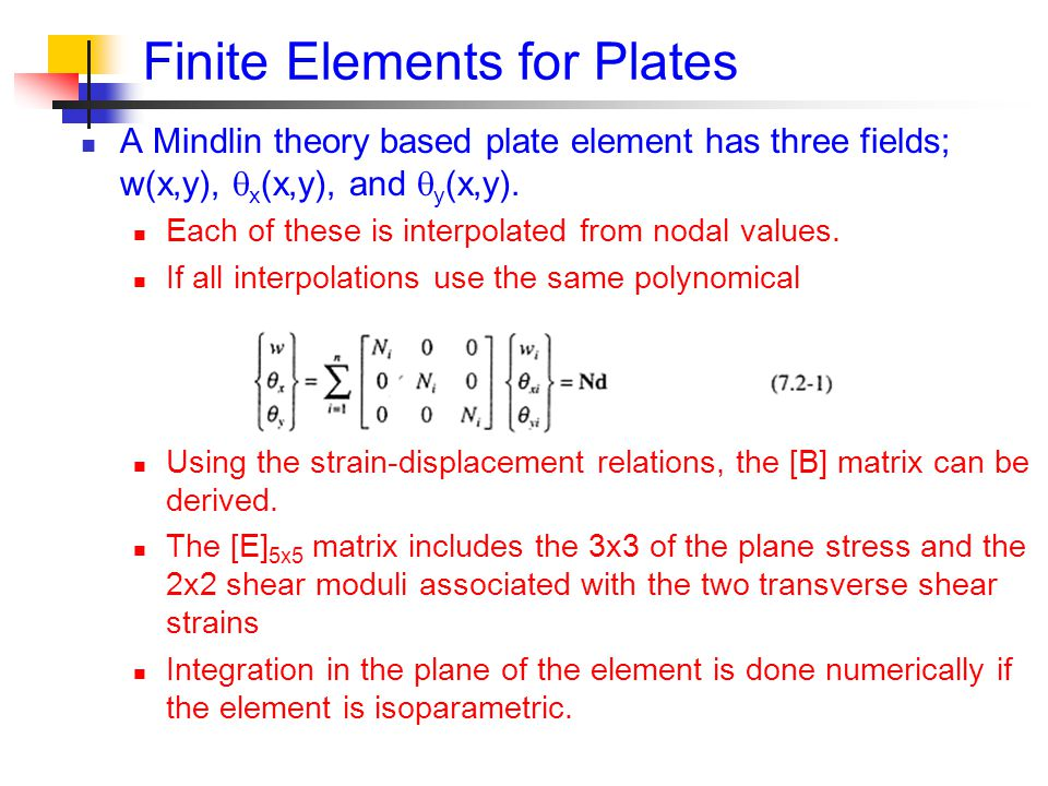 Finite Elements for Plates