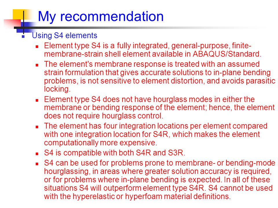 My recommendation Using S4 elements
