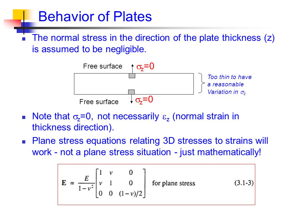 Behavior of Plates The normal stress in the direction of the plate thickness (z) is assumed to be negligible.