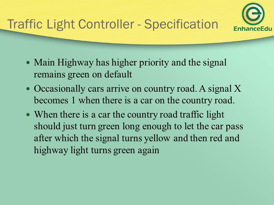 Traffic Light Controller - Specification