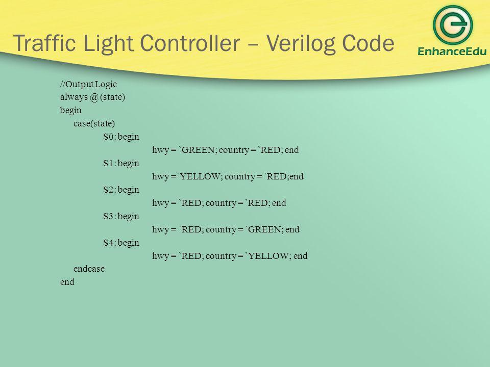 Traffic Light Controller – Verilog Code