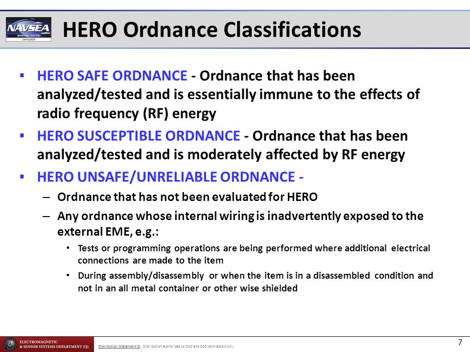 HERO Ordnance Classifications